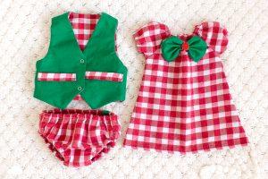 Коледни дрешки за бебе рокля каре елек две лица